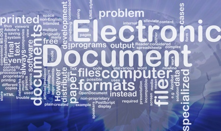 Background concept wordcloud illustration of electronic documents international Stock Illustration - 9915037