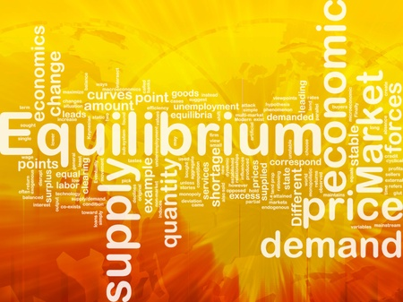 on demand: Background concept wordcloud illustration of equilibrium international Stock Photo
