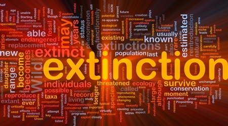 extinction: Background concept wordcloud illustration of species extinction event glowing light
