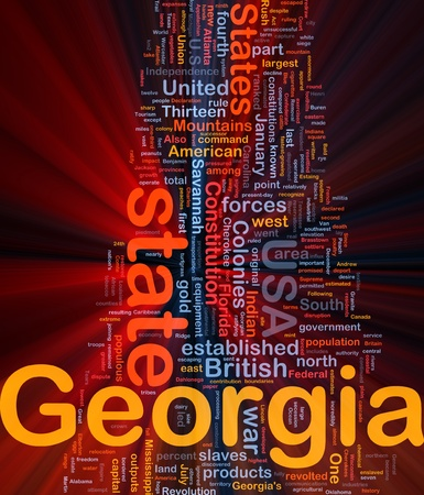populous: Background concept wordcloud illustration of Georgia American state glowing light