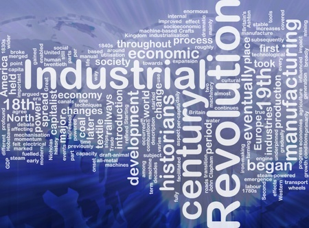 industrial machine: Word cloud concept illustration of industrial revolution international