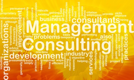 Word cloud concept illustration of management consulting international Stock Illustration - 9915048
