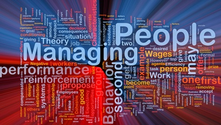 managing: Background concept wordcloud illustration of business managing people glowing light Stock Photo