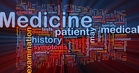 Background concept wordcloud illustration of medicine health industry glowing light Stock Illustration - 9915124