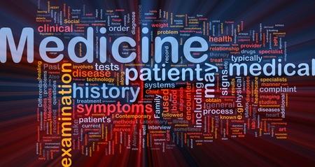 especialistas: Ilustraci�n de wordcloud concepto de fondo de la luz resplandeciente de salud industria de medicina