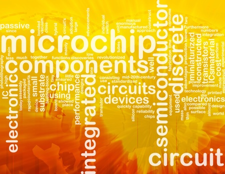 Word cloud concept illustration of computer microchip international illustration
