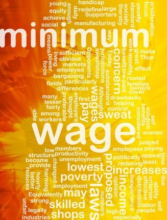 Word cloud concept illustration of minimum wage international