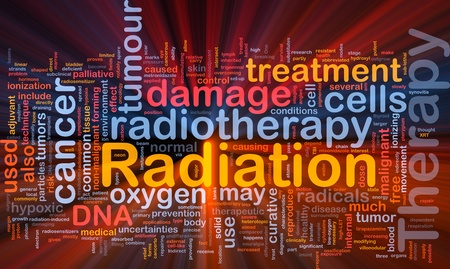 radiacion: Ilustraci�n de wordcloud concepto de fondo de la luz resplandeciente de terapia de radiaci�n m�dica