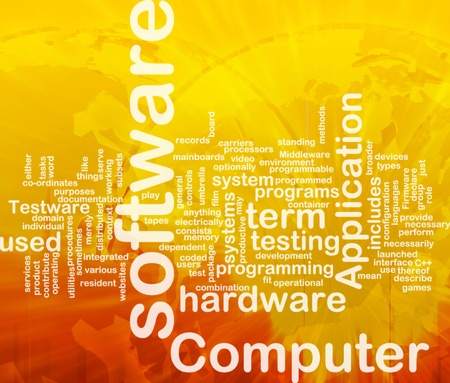 Word cloud concept illustration of computer software international Stock Illustration - 9915020
