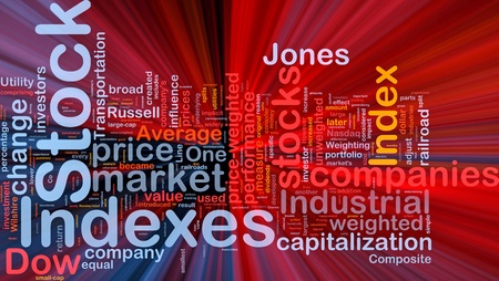 indexes: Background concept wordcloud illustration of financial stock indexes glowing light Stock Photo