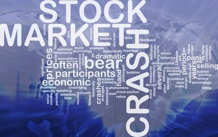 selling stocks: Background concept wordcloud illustration of stock market crash  international Stock Photo
