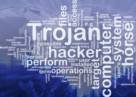 cavallo di troia: Sfondo concetto illustrazione del computer trojan horse internazionale