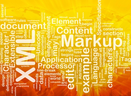 extensible: Ilustraci?n de concepto de nube de palabra de lenguaje de marcado XML internacional Foto de archivo