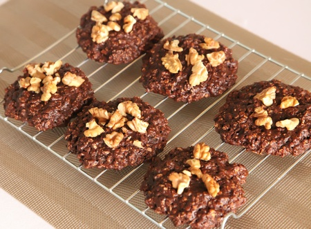 homemade cookies: Food photo of chocolate walnuts oatmeal cookies on cooling rack Stock Photo