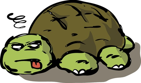 Passed out: Tired, lazy, exhausted, old, unconscious turtle collapsed on ground, illustration