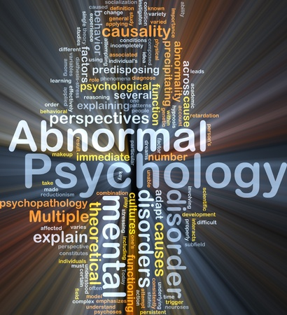 abnormal: Abnormal psychology background concept glowing light