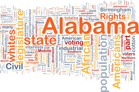 whites: Background concept wordcloud illustration of Alabama American state