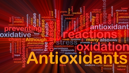 radicals: Background concept wordcloud illustration of antioxidants health nutrition glowing light
