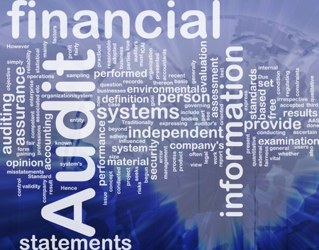 financial statements: Background concept wordcloud illustration of financial audit international Stock Photo