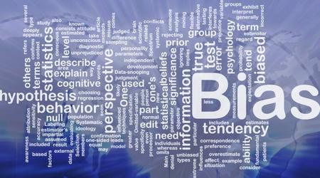 biased: Illustrazione di wordcloud sfondo concetto di bias internazionale