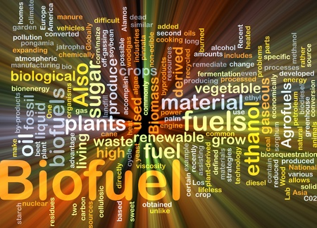 Achtergrond concept illustratie van biobrandstof hernieuwbare brandstof gloeien licht