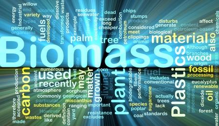 Achtergrond concept illustratie van biomassa hernieuwbaar materiaal gloeiende licht Stockfoto