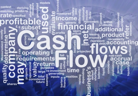 cash flow: Background concept wordcloud illustration of flow cash international