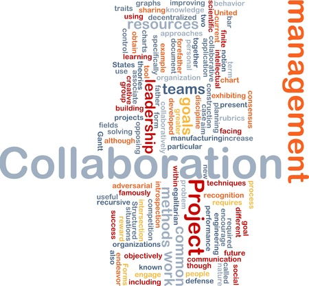 facing: Background concept wordcloud illustration of Collaboration management cooperation