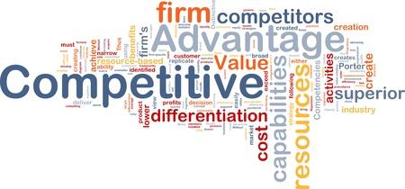 Wordcloud concepto de fondo ilustración de ventaja competitiva del negocio