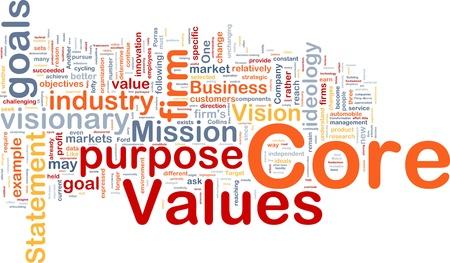 intention: Illustration de wordcloud concept arri�re-plan de valeurs de base des affaires