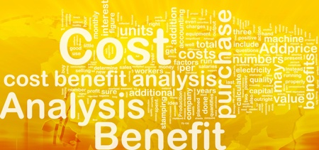 value add: Background concept wordcloud illustration of cost benefit analysis international