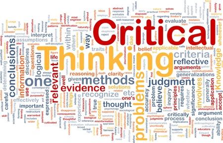 Háttér fogalma wordcloud illusztrálja a kritikus gondolkodás stratégia