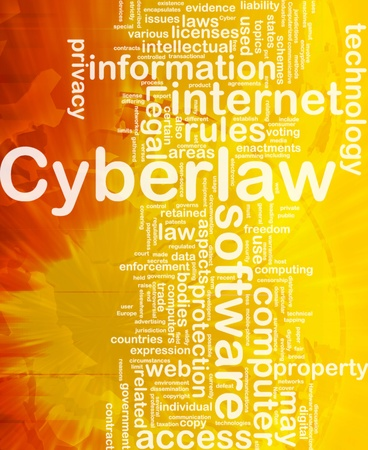 Background concept wordcloud illustration of cyberlaw international Stock Illustration - 10011916