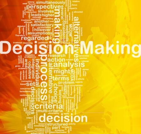 Background concept wordcloud illustration of decision making international illustration