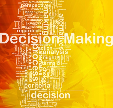 making: Background concept wordcloud illustration of decision making international Stock Photo