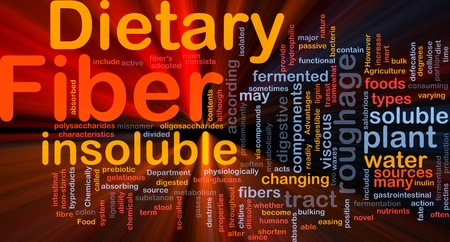 insoluble: Background concept wordcloud illustration of dietary fiber glowing light Stock Photo