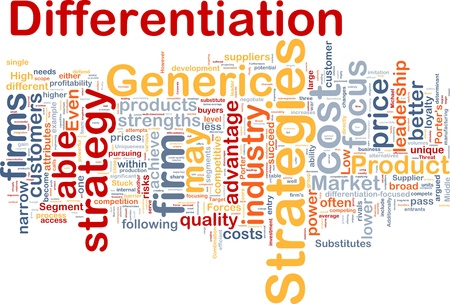 Background concept wordcloud illustration of business differentiation strategies Stock Illustration - 10011944