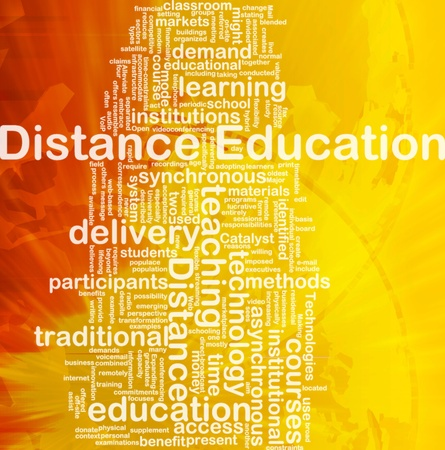 in distance: Background concept wordcloud illustration of distance education international