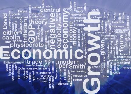 economia: Ilustraci�n de wordcloud concepto de fondo de crecimiento econ�mico internacional Foto de archivo