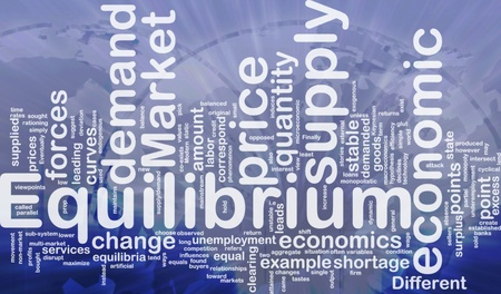 point of demand: Background concept wordcloud illustration of equilibrium international Stock Photo