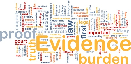 Background concept wordcloud illustration of evidence legal proof Stock Illustration - 10011884
