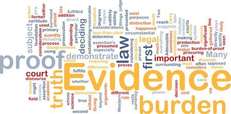 Ilustración de wordcloud concepto de fondo de la prueba legal de pruebas