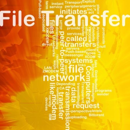 Background concept wordcloud illustration of file transfer international Stock Illustration - 10011881