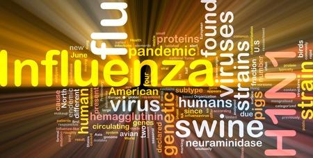 categorized: Background concept illustration of H1N1 Influenza swine flu glowing light