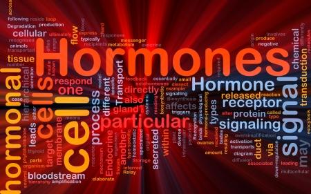 hormonas: Ilustración de wordcloud concepto de fondo de la luz resplandeciente de hormonas señal hormonal Foto de archivo