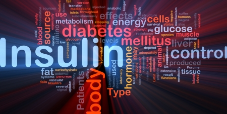 muscle cell: Background concept wordcloud illustration of insulin diabetes control glowing light
