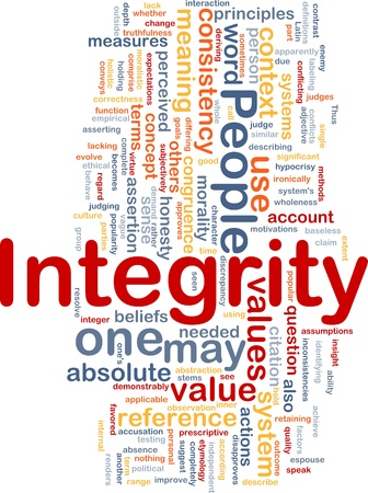 correctness: Background concept wordcloud illustration of integrity principles values Stock Photo