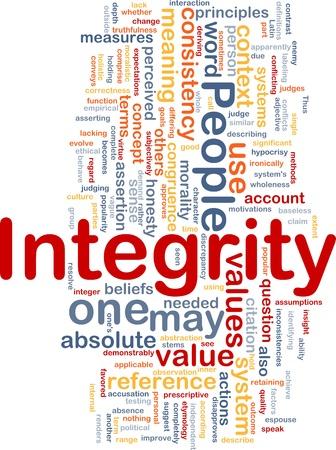 integrit�: Sfondo concetto illustrazione wordcloud dei valori di integrit� dei principi