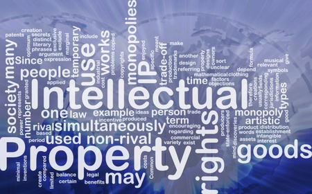 monopolies: Background concept wordcloud illustration of intellectual property international Stock Photo