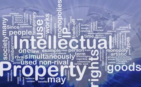 intellect: Illustrazione di wordcloud sfondo concetto di propriet� intellettuale internazionale